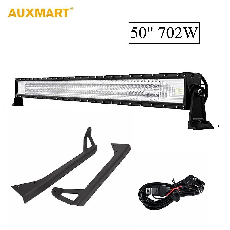 цена на Auxmart 50inch 702W Straight LED Light Bar With Mounts Brackets 3 Row Car Work Light Combo Beam For Jeep Wrangler YJ 1987~1995