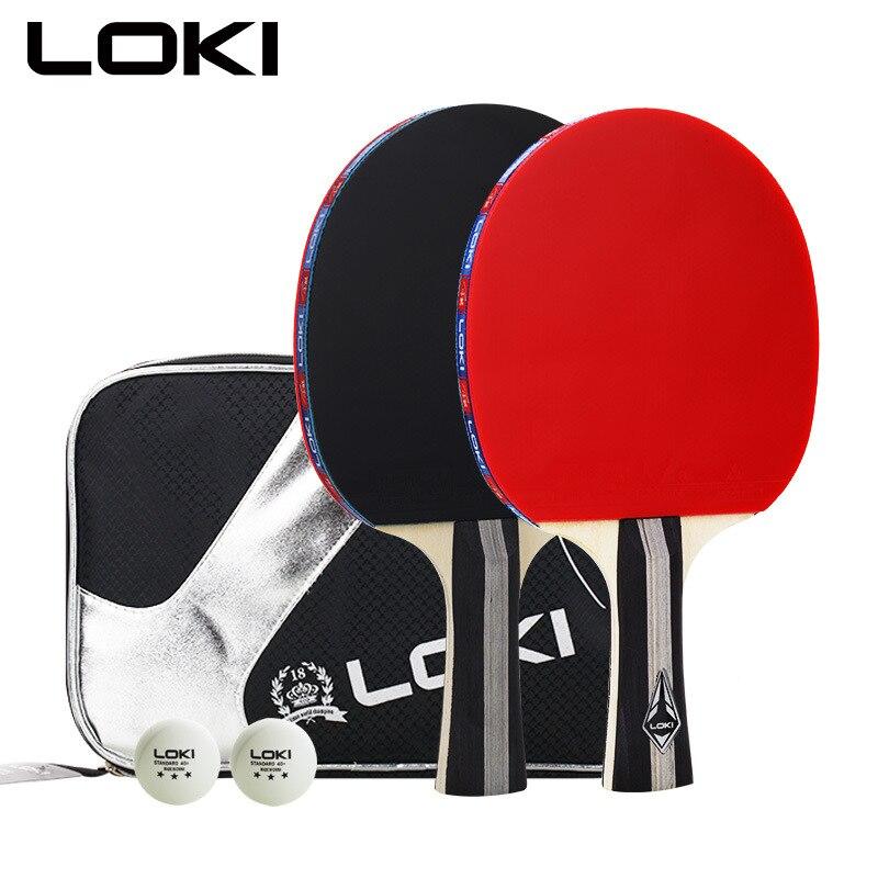 LOKI-ensemble de 2 pièces de raquette de Tennis de Table, C3000, avec 2 balles et sac pour l'entraînement, chauve-souris d'amateur
