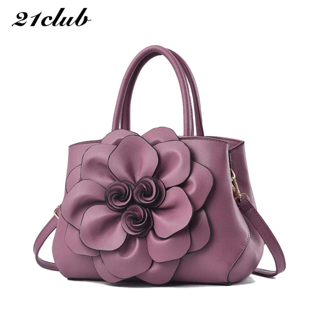 21club brand ladies medium three-dimensional flower totes high quality fashion party work purse women crossbody shoulder handbag