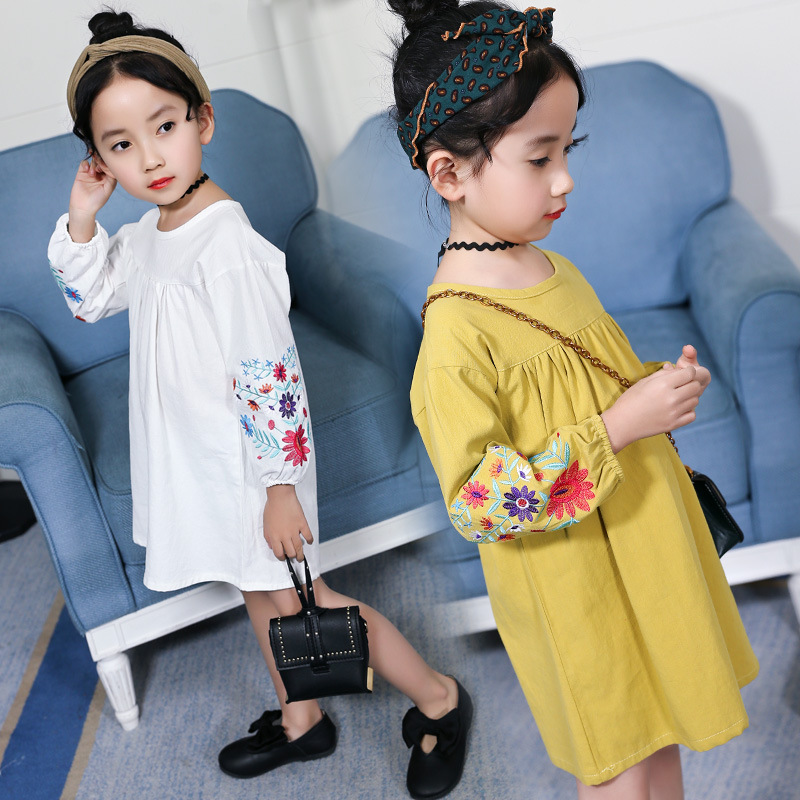 Toddler Girls Dress 2018 Spring Kids Dresses For Girls Floral Embroidery Long Sleeve Princess Party Dresses Children Clothing 14 retail hot sale girls winter dresses sweet sleeve children dot dress for party kids clothing