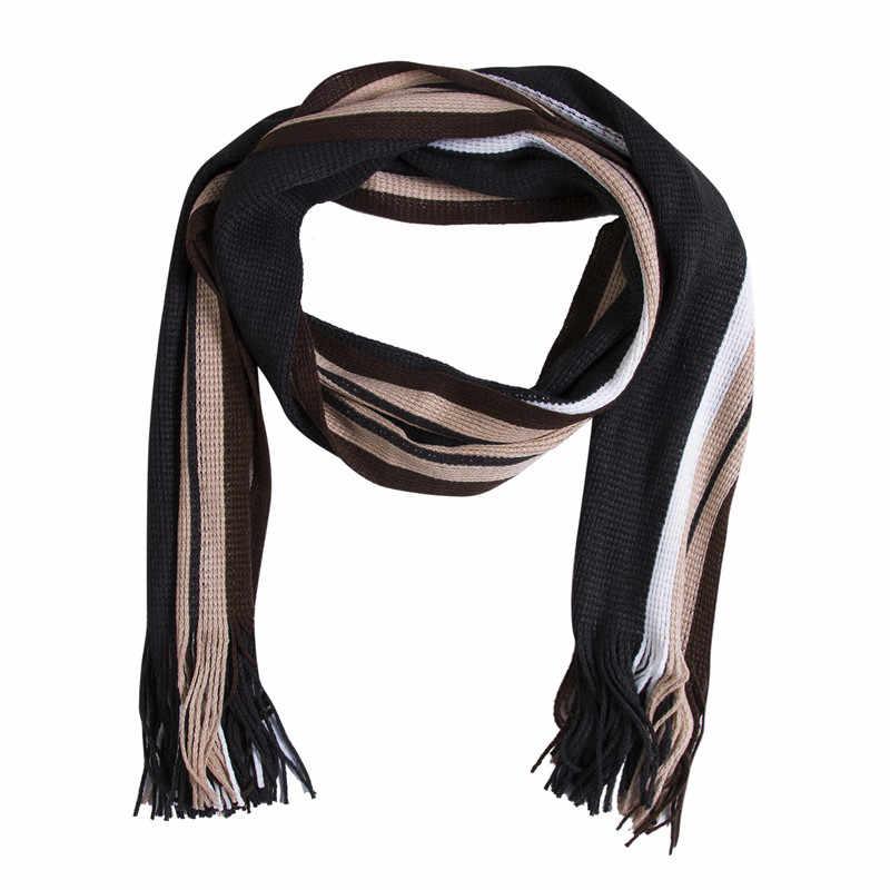 Модный классический мужской зимний теплый кашемировый вязаный Повседневный длинный шарф из искусственной шерсти мягкий шарф шаль Один Размер 8 цветов для мальчиков