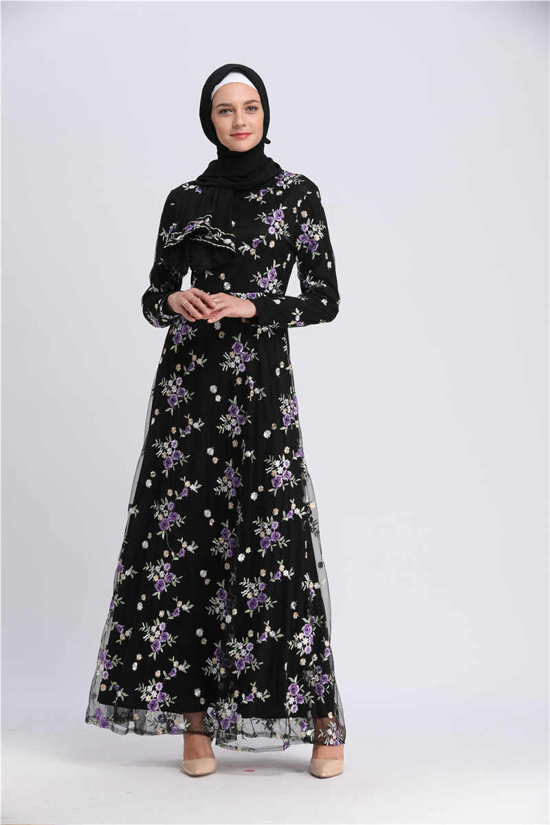eed40fdfaaa4f Abaya Dubai Women Embroidery Floral Lace Dress Long Sleeve Turkey Moroccan  Kaftan Islamic Arabic Muslim Hijab Robe Musulmane