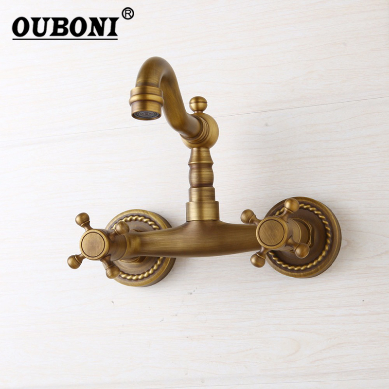 OUBONI Antique Brass Solid Brass Faucets 2 Cross Handles Roman Retro Hot Cold Bathroom Faucet wall Mounted Basin Sink Mixer Tap ouboni 3pcs set bathtub luxury golden plated bathroom faucet european split basin mixer tap ceramic faucet body cross handles