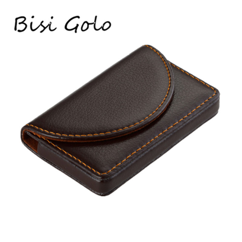 BISI GORO 2020 Women And Men Business Name Card Holder Magnet Big Capacity Classic Style Card Box PU Fashion ID Card Case Wallet