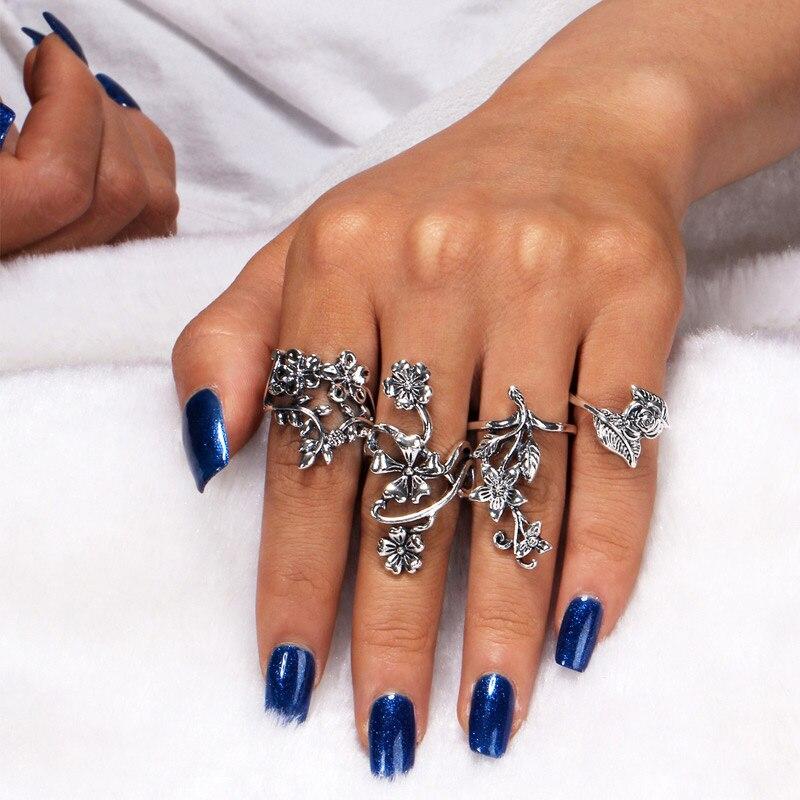 Luxury Set Knuckle Hot Chic Fine Finger Retro Ring Fashion Crystal Leaf Shape