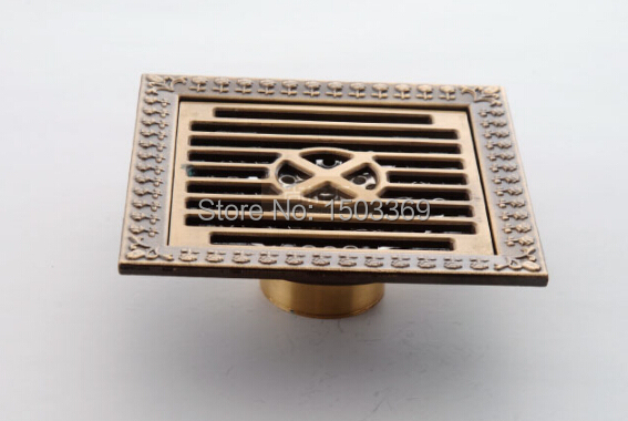 ФОТО high quality Total Brass bronze finished against the stench art cover bathroom Floor Drain Waste Drain 12*12 size  Floor Drain