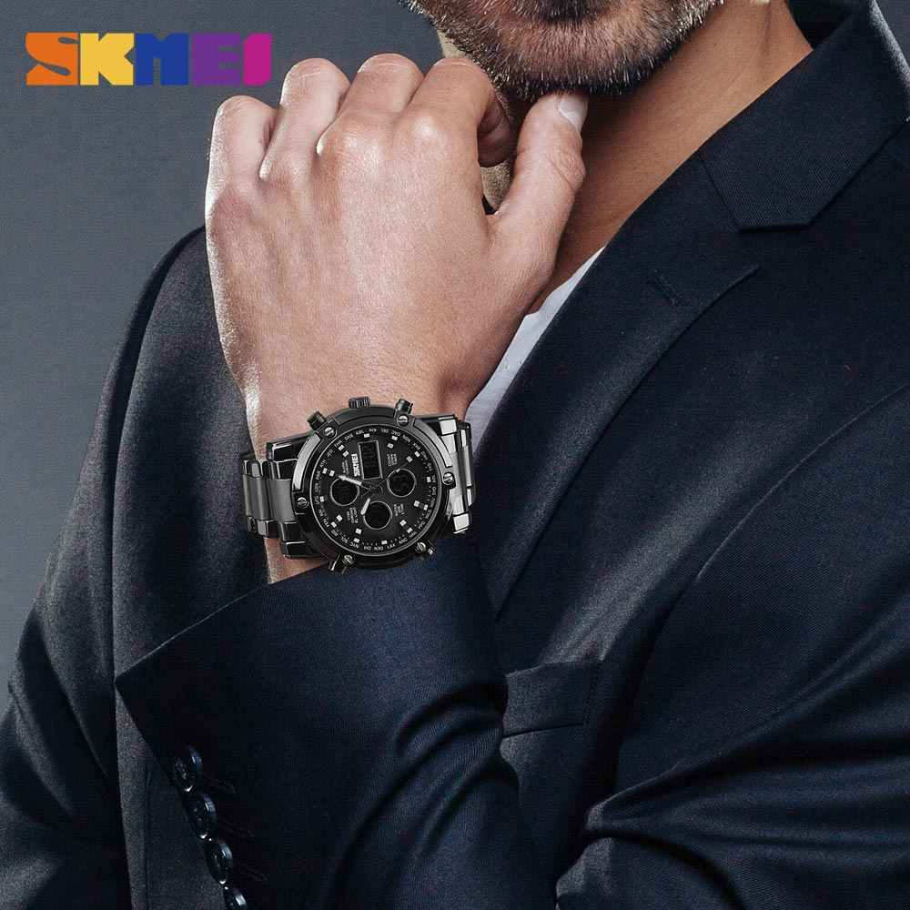 2019 SKMEI 高級メンズクォーツデジタルデュアル表示 · ウォッチ防水男性腕時計ストップウォッチスポーツ腕時計レロジオ Masculino