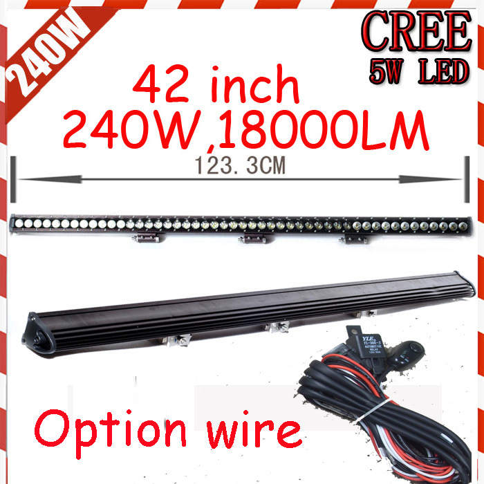 Free DHL/UPS/FEDEX ship! 42 240W 18000LM 10~30V,6500K,LED working bar;led offroad bar,Option wire harness,SUV,LED bar light