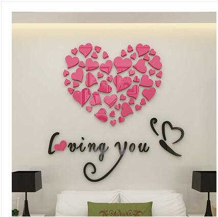 small Loving couple warm 3D stereo acrylic wall stickers wallpaper ...