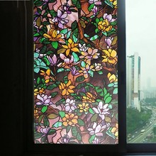 Painted orchid Window Privacy Film Glass Sticker Electrostatic anti-UV opaque Stained bathroom door Home Decoration