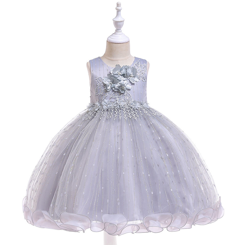 Ballgown Grey   Flower     Girl     Dresses   Puffy   Dresses   For Evening Party Occasion Lace Appliques
