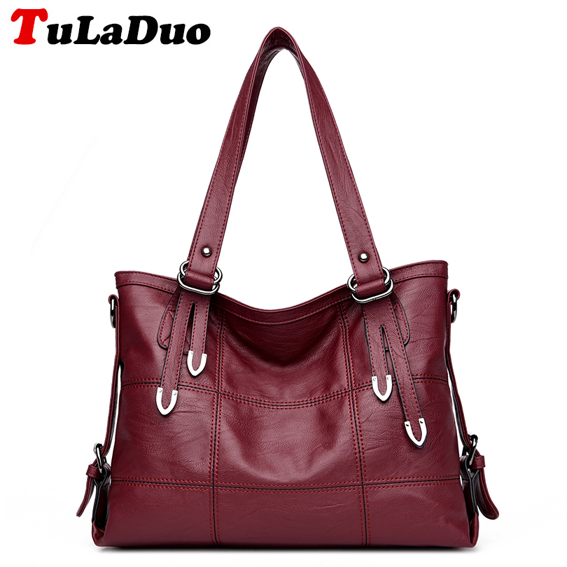 цена на High Quality Large Tote Shoulder Bag Famous Brand Luxury Handbags Women Bags Designer 2018 Fashion Pu Leather Tote Bag Casual