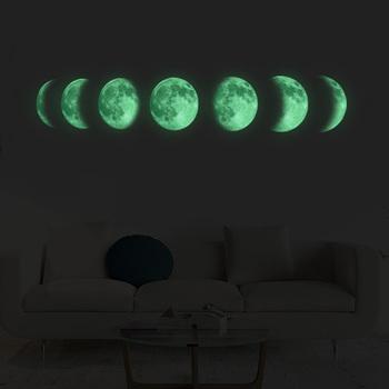 Luminous Moon fazy 3D naklejki ścienne salon dekoracja ścienna Mural Art naklejki tło wystrój świecą w ciemności naklejki tanie i dobre opinie HonC Jednoczęściowy pakiet Naklejka ścienna samolot Nowoczesne None Meble Naklejki Na ścianie WALL PATTERN reference picture