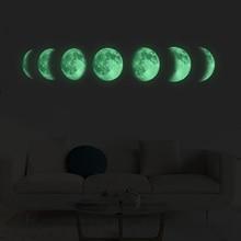 купить Luminous Moon phase 3D Wall Sticker living room wall decoration Mural Art Decals background decor Glow in the dark stickers по цене 223.4 рублей