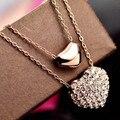 Ustyle nueva moda piedras en forma de corazón 2 cadenas de capa carta de la princesa collar de collar de mujer UN0517