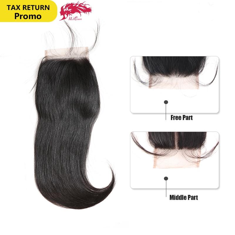 Ali Queen Hair Brasilian Straight Lace Closure 4 * 4 Naturlig Färg - Mänskligt hår (svart)
