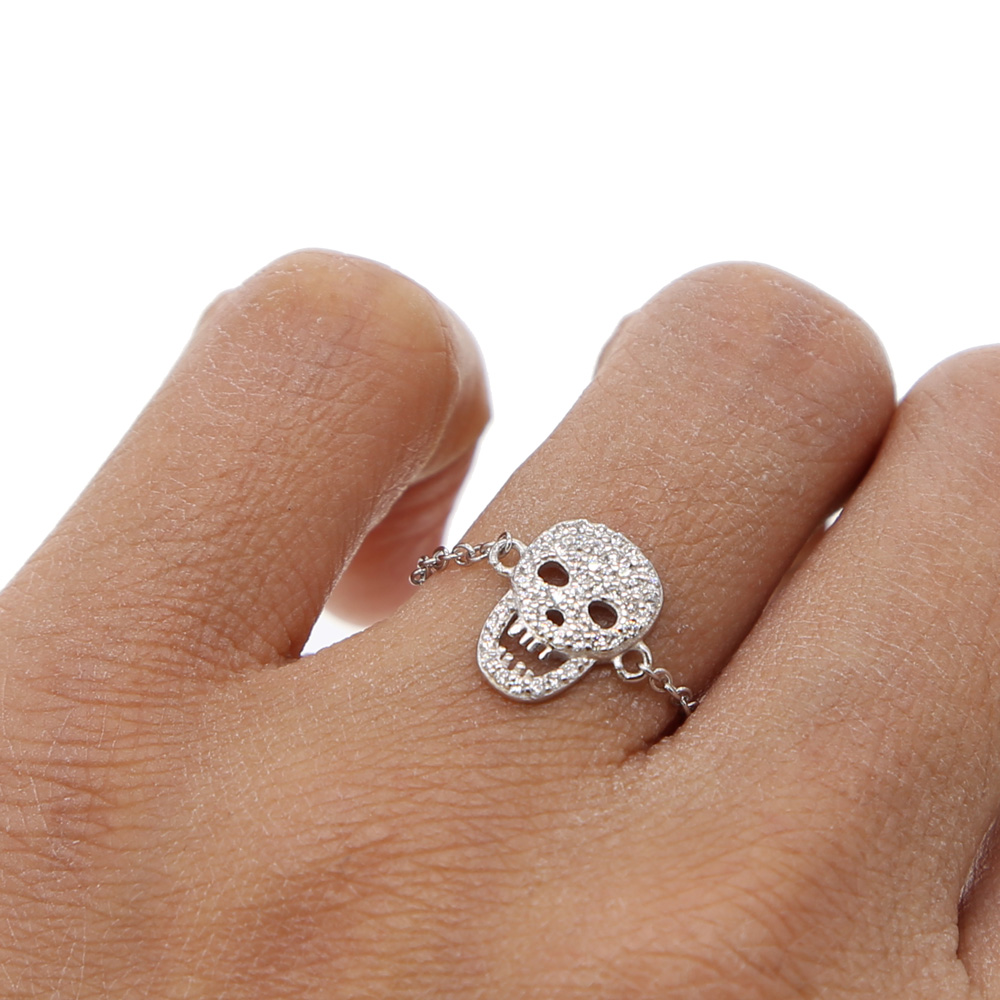 2018 new cool hiphop rock women jewelry micro pave cz skull charm delicate chain 925 sterling silver high quality minimal ring