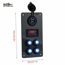 цена на Boat Marine Car On-Off 4 Gang LED Rocker Switch Panel Dual USB Charger Voltmeter Gauge