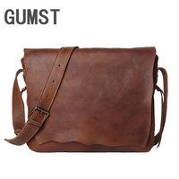GUMST Crazy Horse Leather Men Fashion Casual Laptop Weekend One Shoulder Bag Design Messenger Crossbody Bag School Book Bag