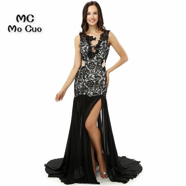 big sale 66b6b ca487 US $125.61 21% di SCONTO|2017 Elegante Mermaid Prom Dresses Lungo con  Appliques abito Con Lo Spacco Laterale per la laurea Abiti da festa Vestito  Da ...