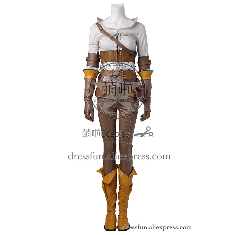 The Witcher 3 sauvage chasse Cosplay Costume Cirilla (Ciri) Fiona Elen Riannon Costume Halloween ensemble complet uniforme expédition rapide