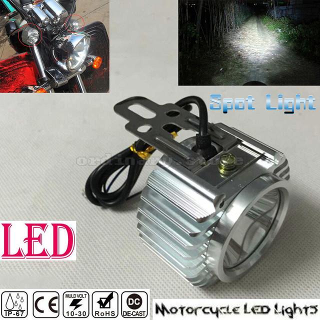 Super Brillante Cromo Motor Eléctrico Motocicleta de La Bici LED Faro de Niebla Del Faro de Conducción Del Trabajo Del Punto Cabeza Spotlight Lámpara de Luz Nocturna