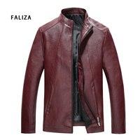 FALIZA 2018 New Brand PU Leather Jacket Men Black Red Solid Mens Jacket Coats Trendy Slim Fit Motorcycle Jacket Male Plus JK118