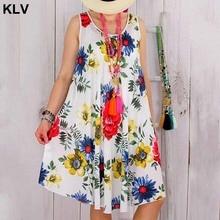 Women Sleeveless Floral Print Summer Beach Swing Loose  Casual Robe Femme Vest Dress Plus Size