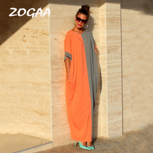 ZOGAA 2 Colors Patchwork Summer Dress for Women Half Sleeve Long with Pockets Casual Lady Loose Maxi Clothing