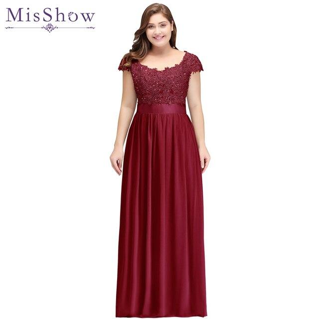 487ef768a 2019 Novo plus size vestido de noite Chiffon Cinza Vestido De Festa A Linha  Mãe da