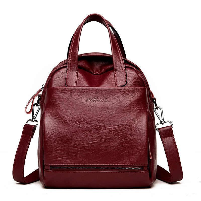 4e27f3c5dc 2018 New Fashion Women Backpack Leather Women s Shoulder Bag Backpack  Female School Bags for Teenage Girls