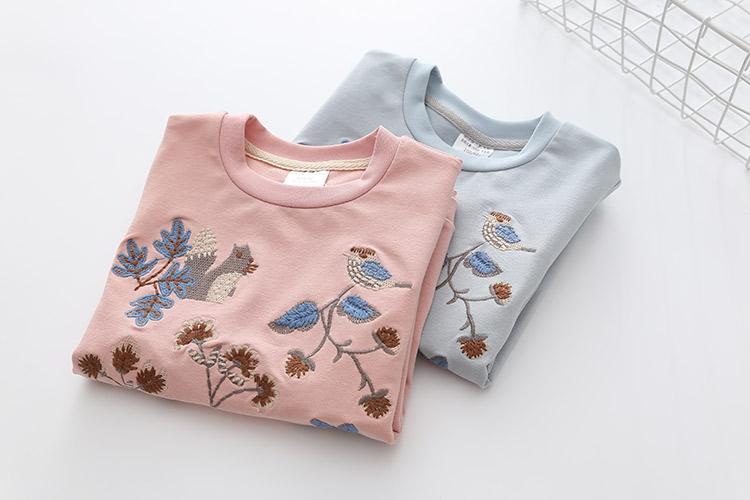 HTB11ofAeBUSMeJjy1zkq6yWmpXat - Kids Girls T Shirts Autumn 2018 Fashion Embroidery Pattern Kids T Shirt Long Sleeve Simple O-neck Children Clothing B0699