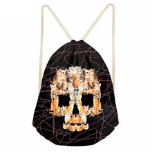 Cute Animal Cat/Lion Skull Head Print Boys Girls Drawstrings Bags Casual Storage Backpacks Children Satchel BundleSumka