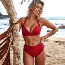 Bikini 2019 Push Up Two Piece Swimsuit High Waist Bikini Women Plus Size Swimwear Ladies Bikini Set Red Black Beach Bathing Suit