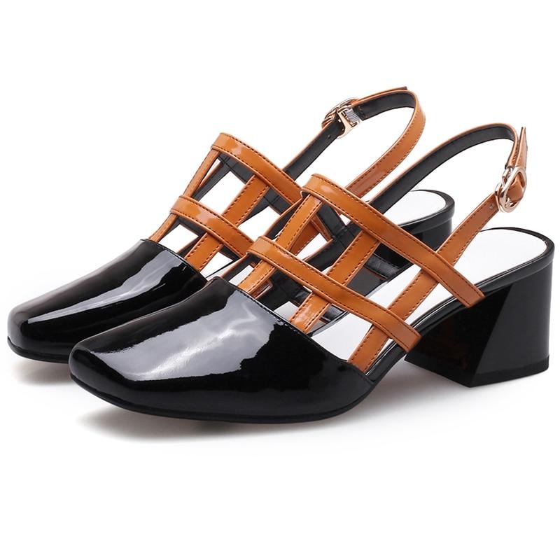 Enmayer 2018 Women Fashion  Genuine Leather  Mary Janes  Women Shoes  Zapatos De Mujer De Moda 2018 De Vestir Size 34-39 LY458