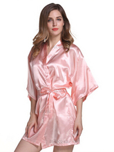 RB030 Sexy Large Size Sexy Satin Night Robe Lace Bathrobe Perfect Wedding Bride Bridesmaid Robes Dressing Gown For Women(China)