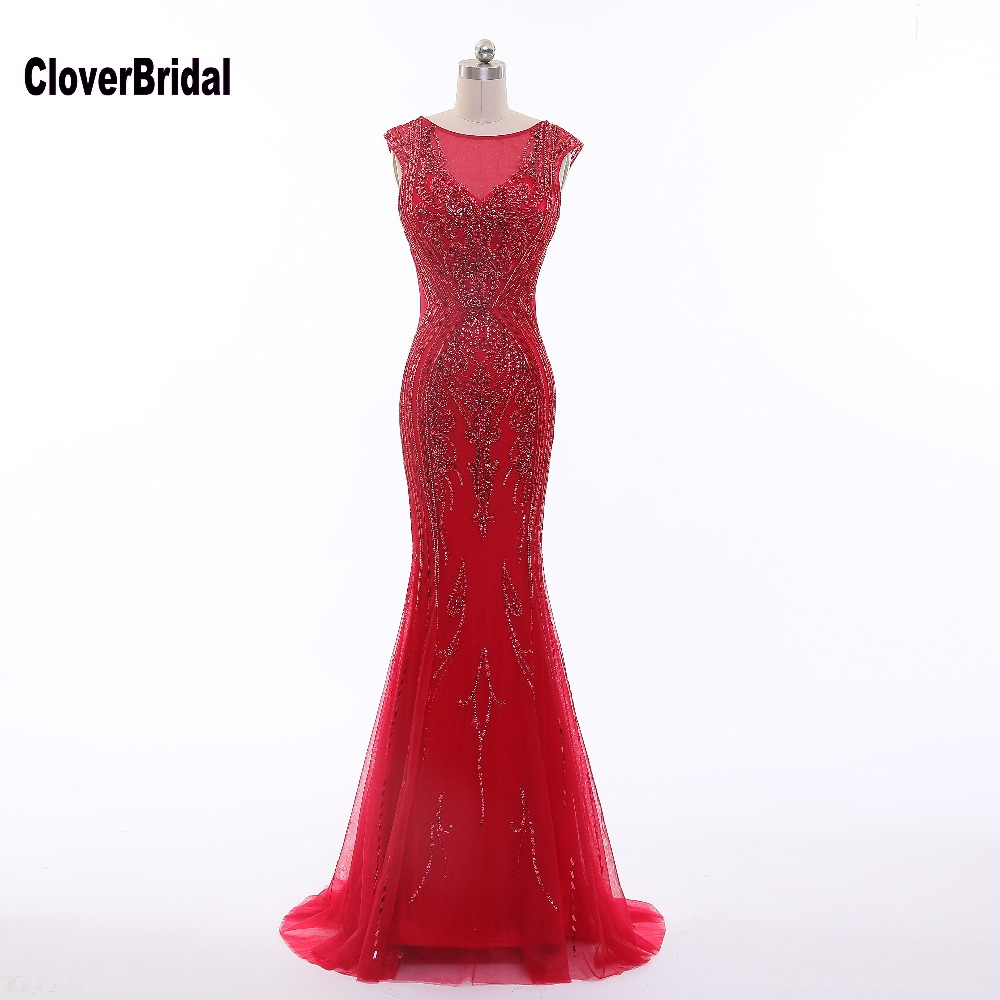CloverBridal high quality sequins tube beading crystal stones long red evening dress sleeveless formal women party