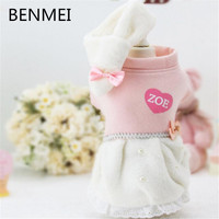 BENMEI 2018 Dog Clothes Cute Dog Warm Dresses Newest Design Soft Pet Clothing Bow Tie And