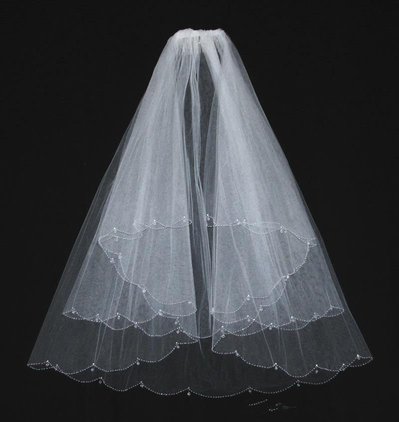 White Beaded Wedding Veils Two Layer With Comb Beads Elbow Length Bridal Veil For Wedding Dresses Accessories 2 Days Shipping(China (Mainland))
