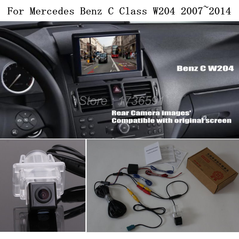 Cámara de Vista trasera de coche para Mercedes Benz MB C Class W204 2007 ~ 2014-cámara de marcha atrás de coche Compatible con RCA y pantalla Original HD 4K Mini WiFi IP Cámara Full HD DIY Mini cámara módulo soporte inalámbrico Hotspot detección de movimiento soporte de Vista Remota tarjeta TF