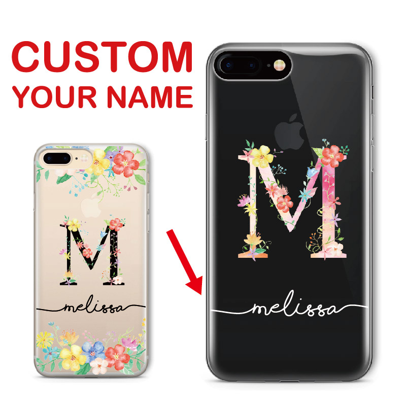 timeless design d4549 b4506 Custom Personalized For Iphone 6 6S XS Max 7 7Plus 8 8Plus 5 X SAMSUNG S7  S8 S9 Name Floral Letter Initial Soft Clear Phone Case