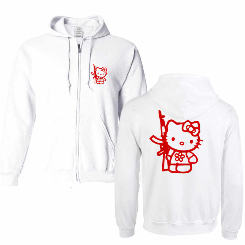91f5cd616 Hello Kitty With Gun Hoodies Men Letter Printed Men's Hoodie Sweatshirt  Long Sleeve Slim Hooded Jacket
