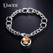 UMODE Brand Jewelry Fashion Genuine Austrian Rhinestone Charm Bracelet For Women Love Christmas Gifts Pulseira Feminina AUB0095