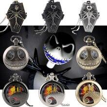 Тим Бертон Кошмар перед Рождеством кварцевые карманные часы Джек Скеллингтон Кулон Ретро бронзовые ювелирные изделия брелок ожерелье часы