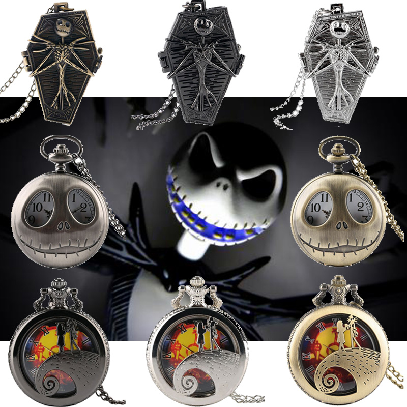Tim Burton The Nightmare Before Christmas Quartz Pocket Watch Jack Skellington Pendant Retro Bronze Jewelry Fob Necklace Watches