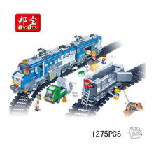 Banbao RC Freight Train 8228 Remote Control Building Block Sets 1275pcs Educational Jigsaw Construction Bricks toys for children