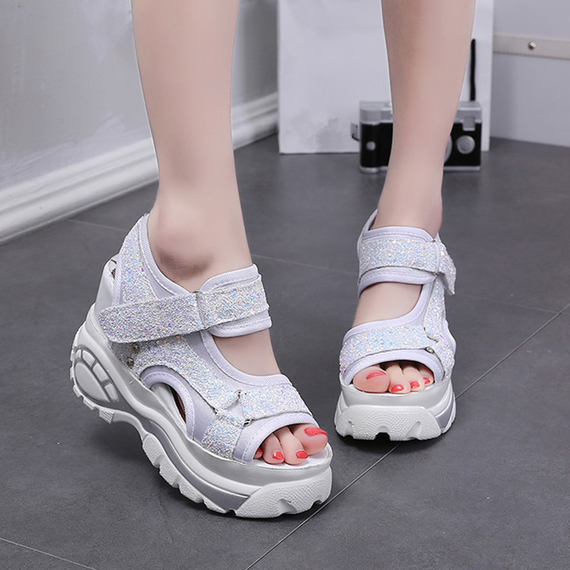 2018 Bling Women Sandals Slippers Slides Summer Sneakers Platform Wedges Women Elevator Shoes Ultra High Heels Sandalia Mujer