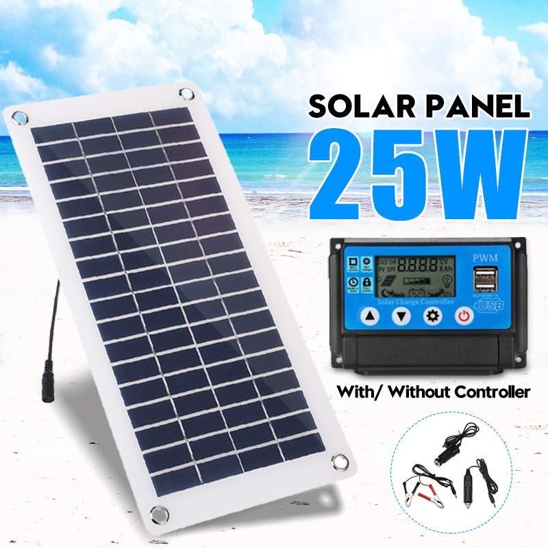 25W Solar Panel USB 12V/5V Polysilicon Silicon Cell +10/20/30/40/50A PWM Solar Charger Controller For Battery Cell Phone Charger
