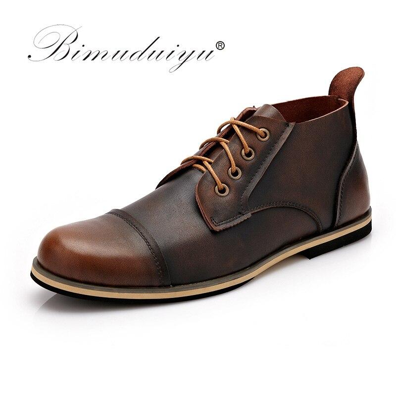 BIMUDUIYU осень-зима ручной работы из натуральной кожи Мужские ботинки Высокое качество, Большие размеры зимняя обувь ботильоны на шнуровке для...