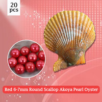 20pcs Round Scallop Akoya Oyster 6 7mm Red Pearl in Oyster Vacuum Packed Free Shipping,popular oysters gifts PJW282